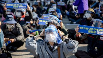 Thousands of the Korean Confederation of Trade Unions members march to Seoul City hall