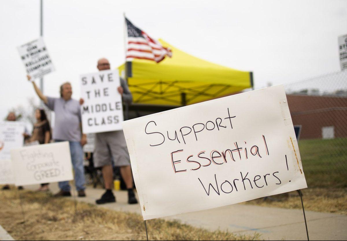 Picket signs outside the Kellogg's plant in Omaha, Nebraska