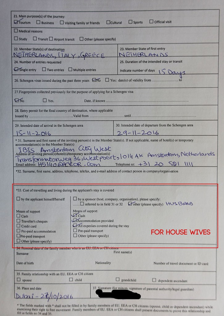 Schengen Visa form for house wives