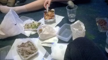 Chinese food on the floor