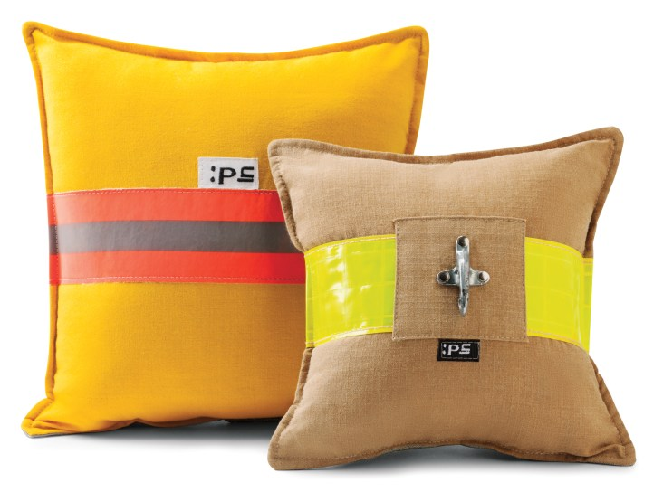 Recycled Fire Gear pillows $18-$25 by Peggy Turpin