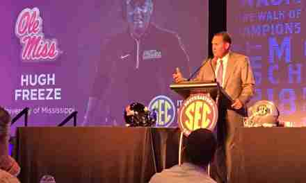Rebels' Hugh Freeze looks comfortable and poised as he answers questions about NCAA investigation