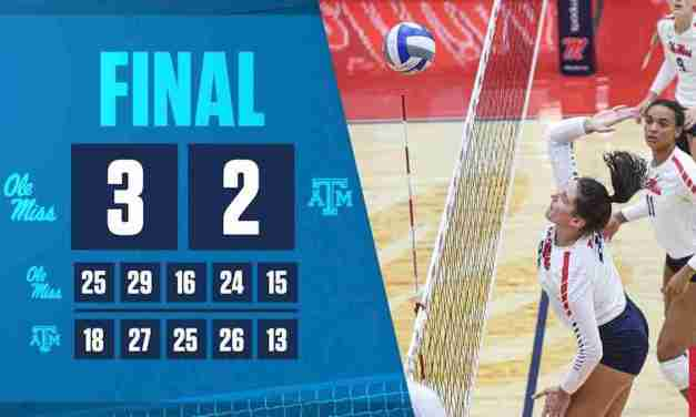 Volleyball Back on Track in 3-2 Win at Texas A&M