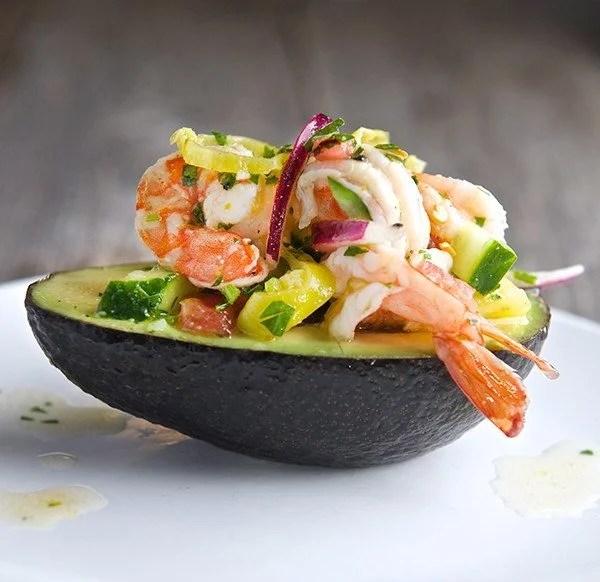 Avocado Stuffed with Shrimp Seviche - TheRecipe.Website