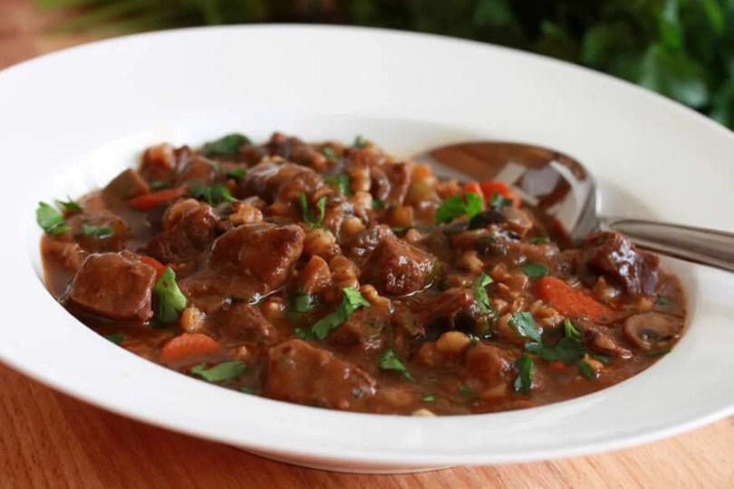 Beef, Barley, and Mushroom Casserole