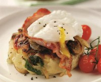 Breakfast Hash with Bacon and Poached Eggs