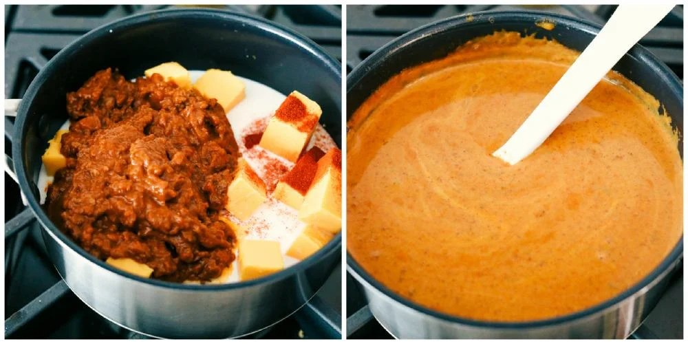 The process of making copycat queso.