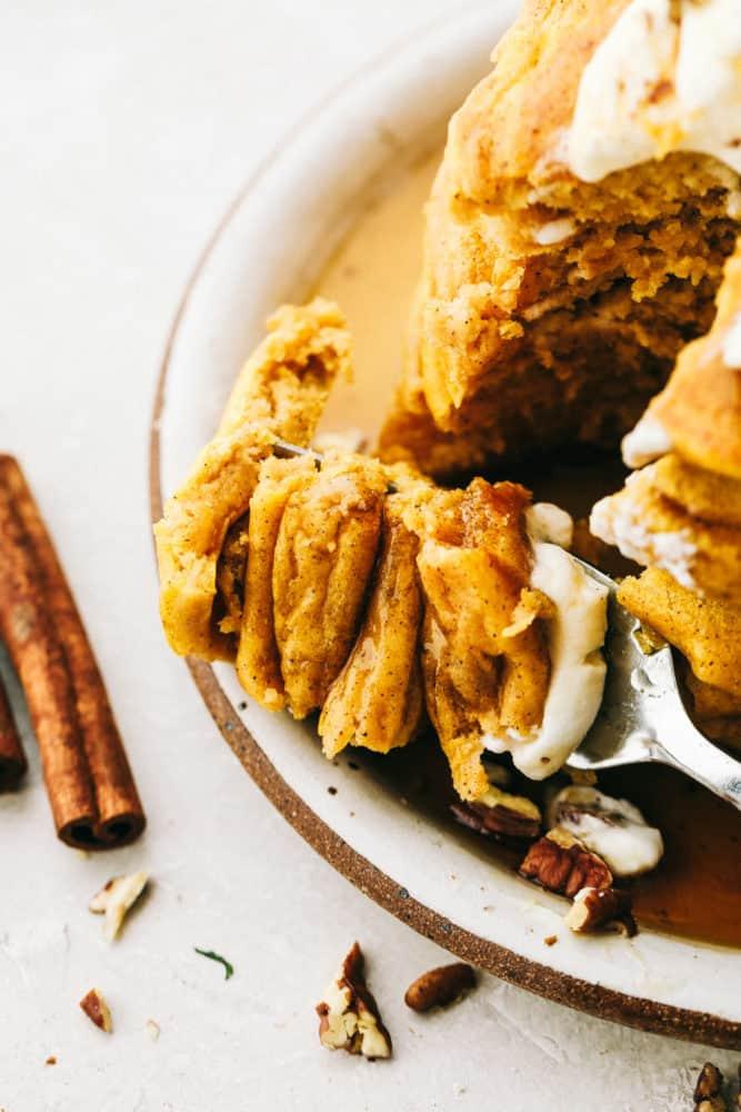Delicious, Fluffy, spiced pumpkin pancakes.