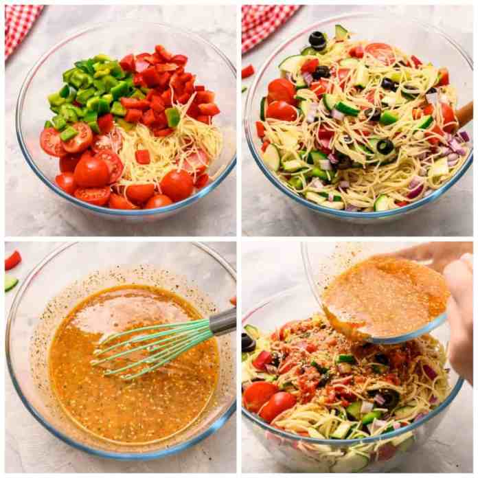 Steps to putting together the spaghetti salad.