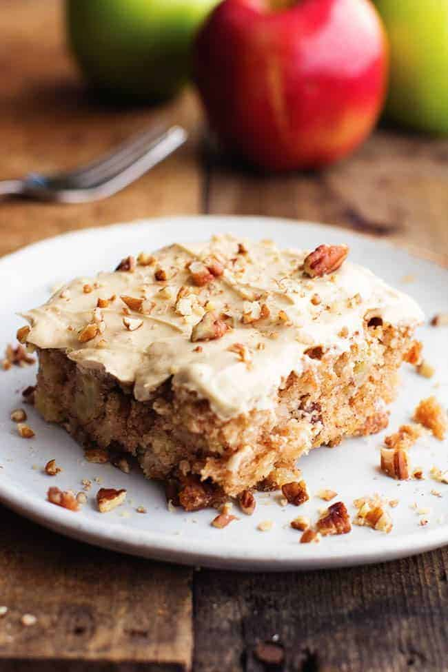 Apple Pecan Spice Cake With Brown Sugar Cream Cheese