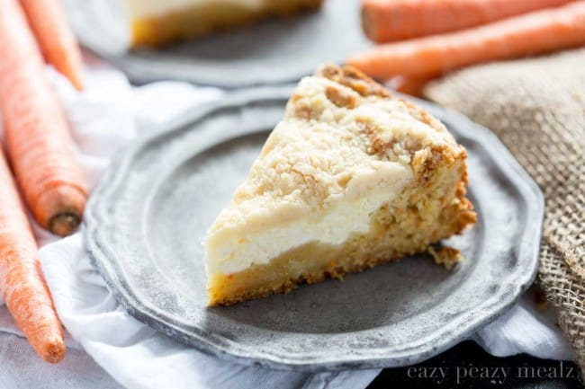 Carrot cake base, cream cheese filling, and a crumb topping. So yummy you won't want to share!