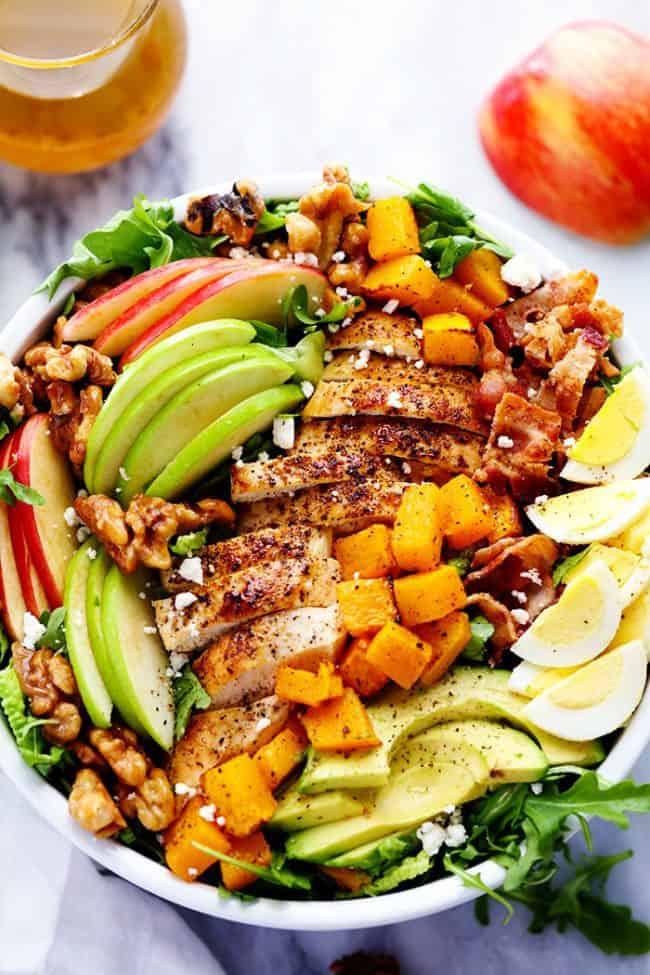 Harvest Cobb Chicken Salad with a Honey Apple Cider