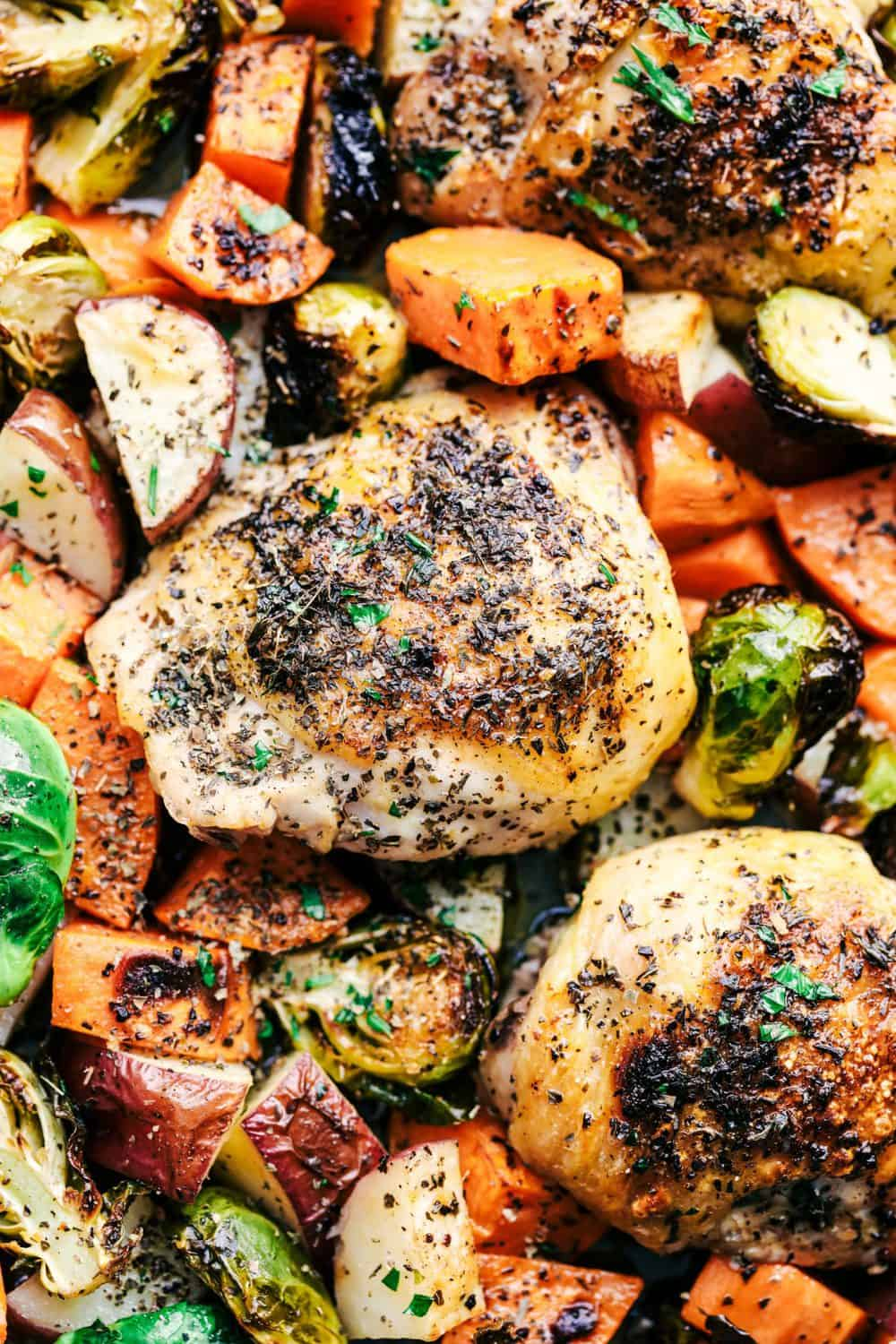 Sheet Pan Roasted Garlic Butter Herb Chicken with Potatoes and Brussels Sprouts close up