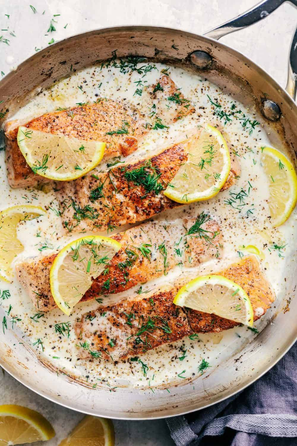 Baked Salmon with Creamy Dill Sauce - Keto fish meals