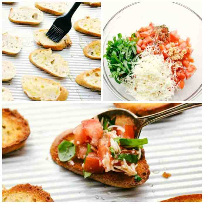 The process of making bruschetta in three photos starting with the brushing on the bread then making the tomato mixture and add it onto of each bread.