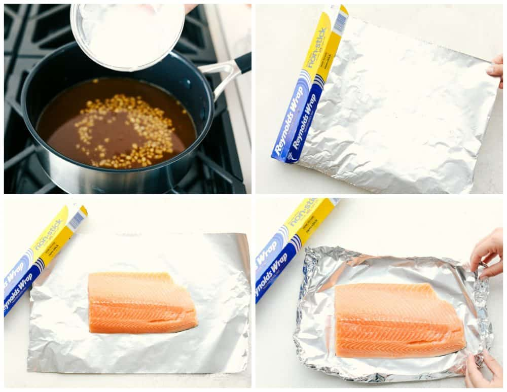 The process of wrapping the salmon in Reynolds wrap aluminum foil.