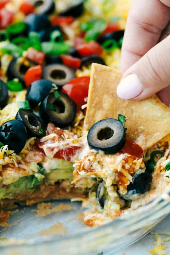 Dipping a chip into 7 layer dip.