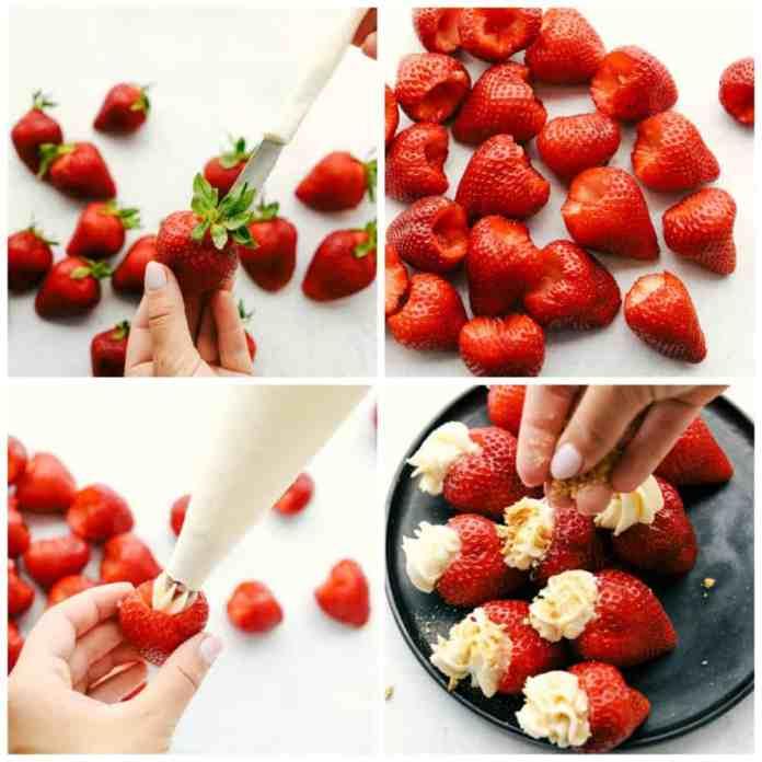 Steps to make cheesecake stuffed strawberries.