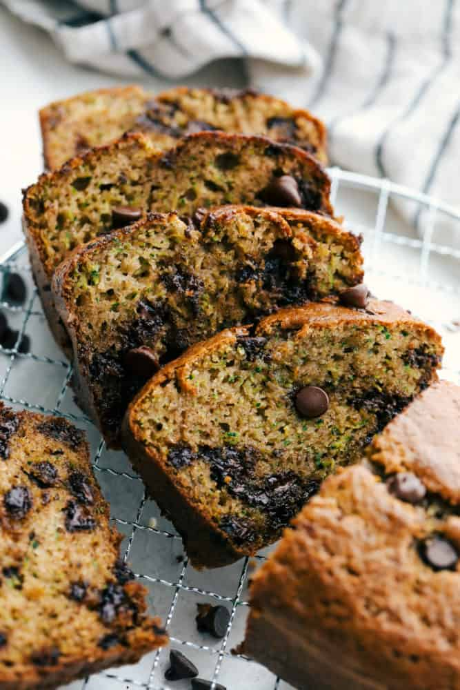 Sliced Chocolate Chip Zucchini Bread on a cooling rack.