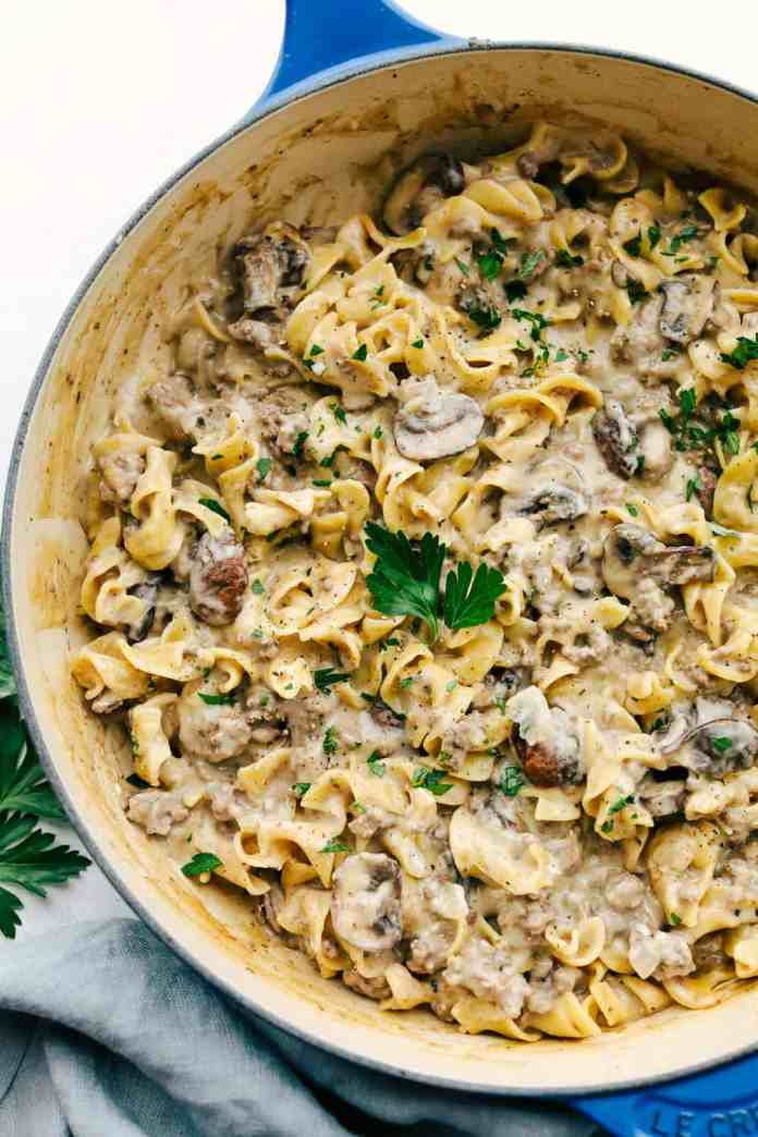 Creamy, savory and hearty One Pot Ground Beef Stroganoff