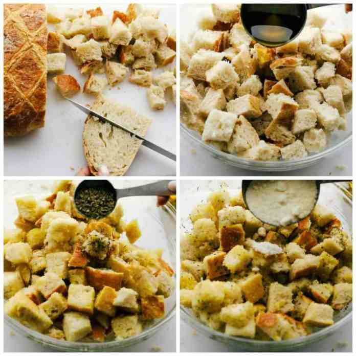 Making perfectly crunchy homemade croutons.