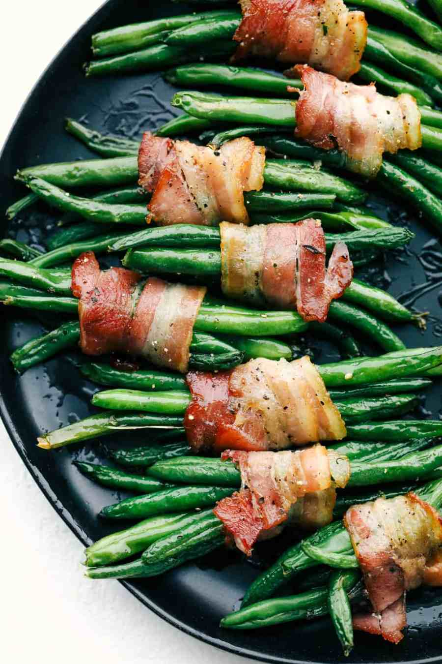 Green beans wrapped in savory bacon.