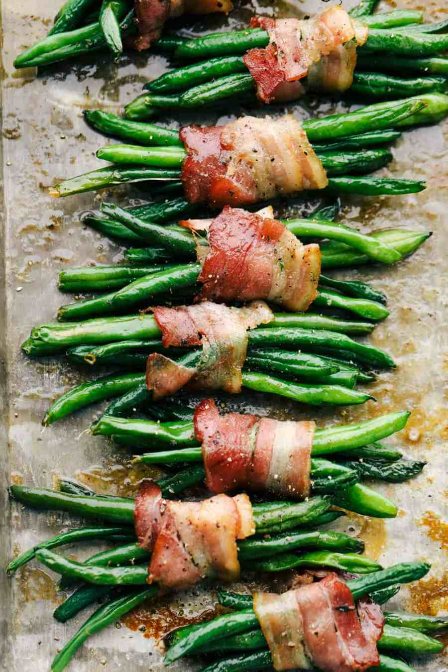 Baked Green Beans wrapped in bacon
