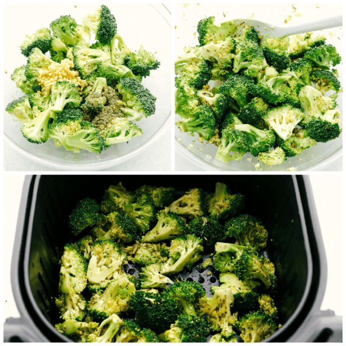 Seasoning, stirring and roasting broccoli in the air fryer.