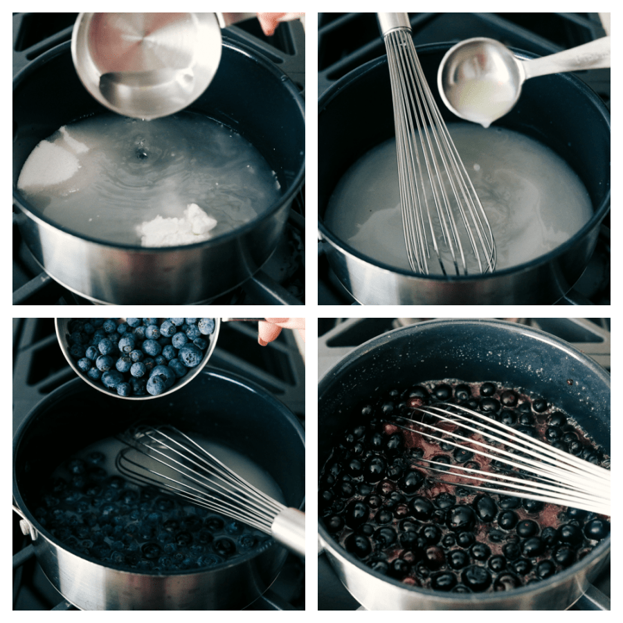 Boiling and simmering the blueberry syrup.