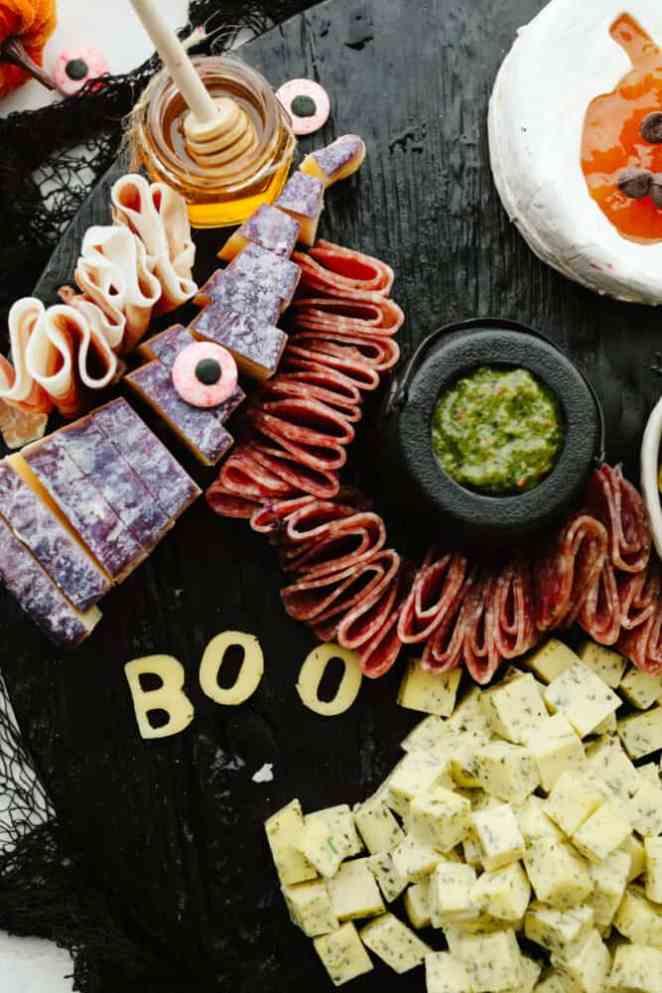 Meat on a charcuterie board.