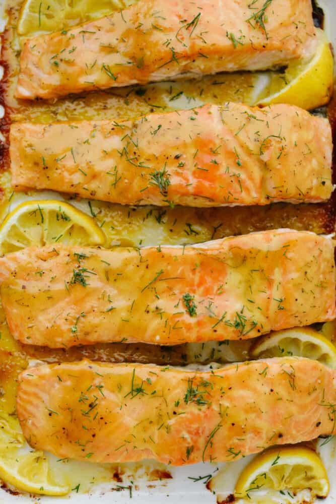 Close up of baked honey mustard salmon.