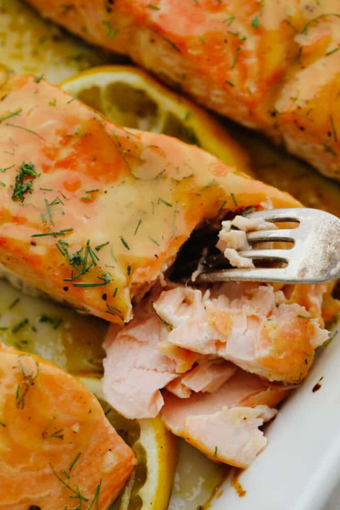 A fork digging in to baked honey mustard salmon