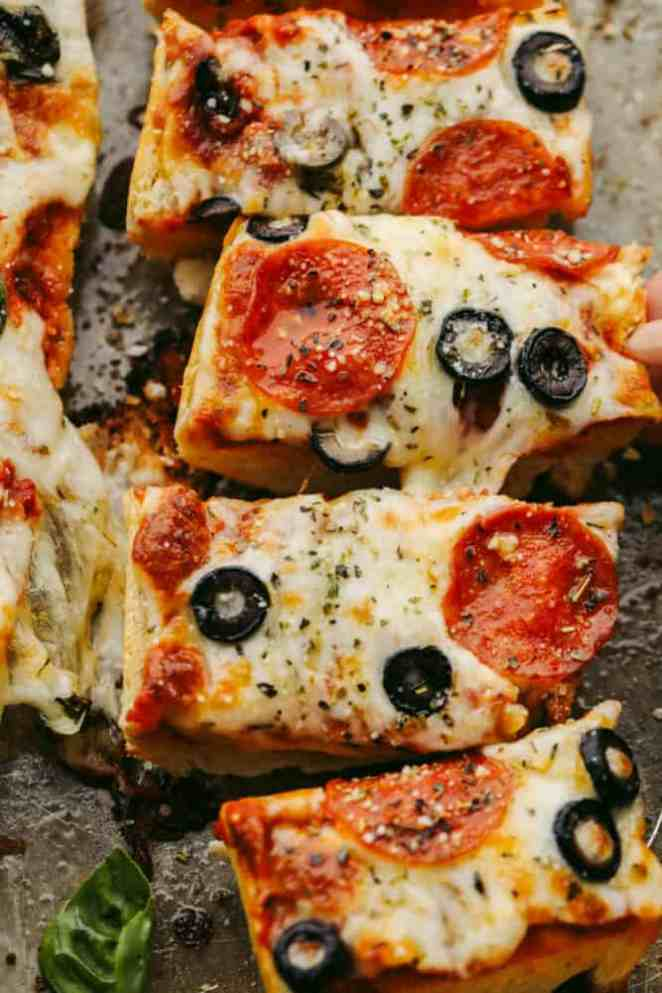 Slices of French bread pizza.