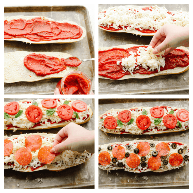 4 pictures showing steps on how to make a French bread pizza.