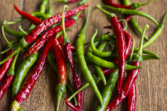 Chillies - green and red
