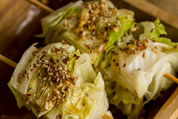 Lettuce wedge salad with Japanese sesame oil dressing