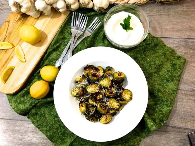 Brussels Sprouts With Lemon, Garlic And Parmesan Cheese