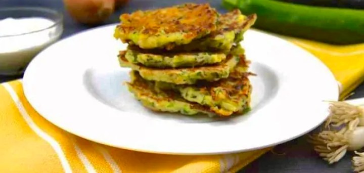 Zucchini fritters with yogurt lime dip