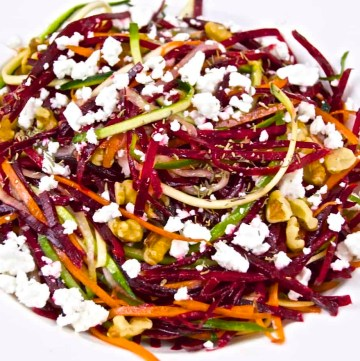 Beet salad With Roasted Walnuts and topped with Feta.
