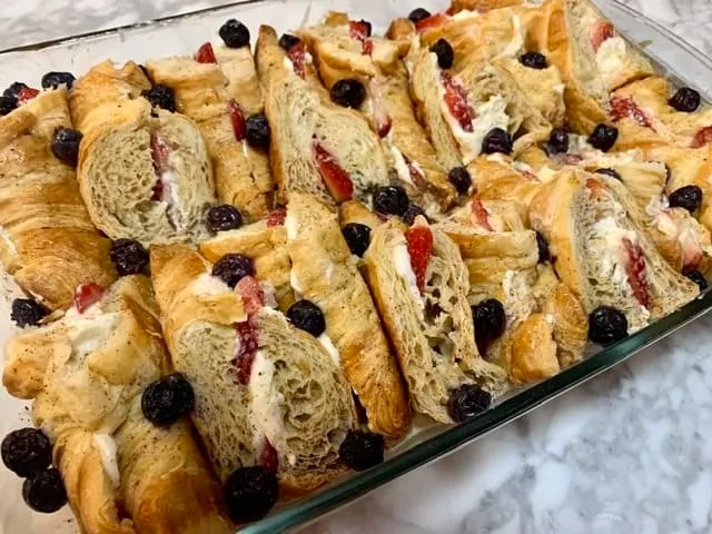 Stuffed Croissant Baked french toast with berries and cream