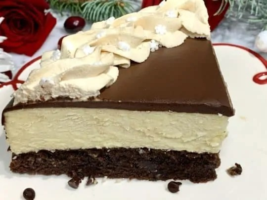 delicious slice of Brownie Bottom Baileys Cheesecake