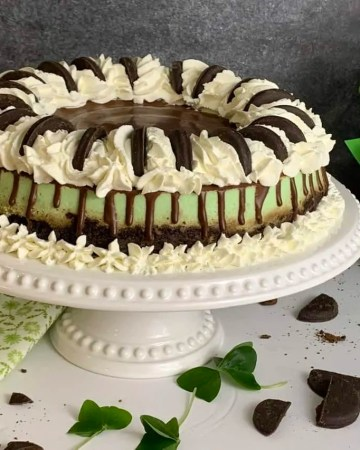 Thin Mint Chocolate Chip Cheesecake