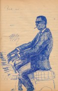 School roughbook - Black jazz pianist in shades