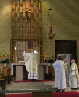 Archbishop Joseph E. Kurtz celebrated the liturgy of the Eucharist in the Carmelite Monastery Chapel on Newburg Road in this file photo from March 28, 2015. The Mass marked the fifth centenary of St. Teresa of Avila's birth. (Record File Photo by Marnie McAllister)