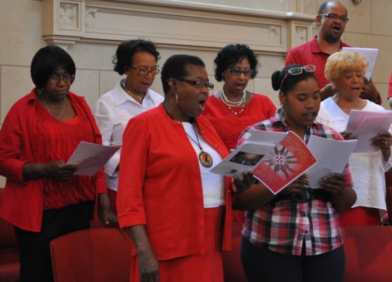 Members of the Archdiocesan Gospel Choir sang during the multicultural Pentecost celebration held at the Cathedral of the Assumption May 24.