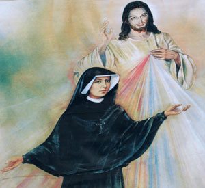 Polish Sister St. Faustina Kowalska is depicted with an image of Jesus Christ the Divine Mercy. The feast of Divine Mercy is April 3. (CNS Photo)