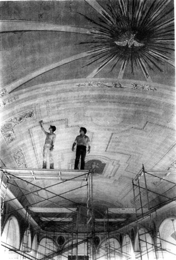 "Two men from Adams Painting Company painted the ceiling and arches of the Basilica of St. Joseph Proto-Cathedral in Bardstown, Ky., in 1985 as part of a major renovation of the interior of the historic church building. This image can be seen in the new book by Dixie Hibbs ""Basilica of St. Joseph Proto-Cathedral Founded in 1816; St. Joseph College 1818-1889."" (Photo Special to The Record)"