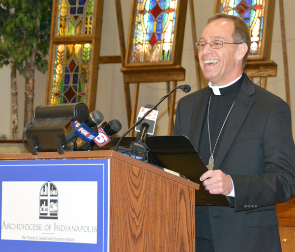 Bishop Charles C. Thompson of Evansville, Ind., smiled during a June 13 news conference after Pope Francis named him the new archbishop of Indianapolis. (CNS photo by Natalie Hoefer)