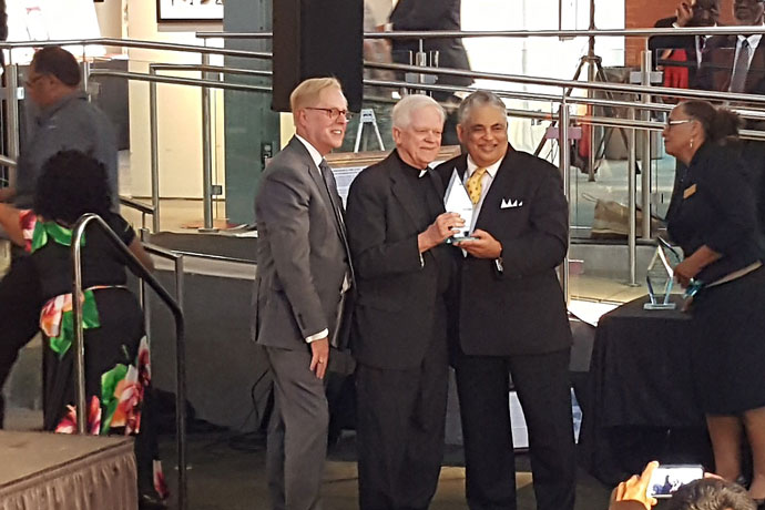 Father Patrick Delahanty was inducted into the Kentucky Civil Rights Hall of Fame Sept. 21 by the Kentucky Commission on Human Rights. The retired priest of the Archdiocese of Louisville has worked for five decades on racial justice issues. (Photos by Marnie McAllister)