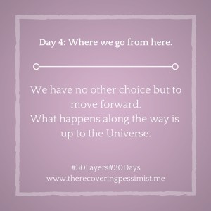 The Recovering Pessimist: Day 4 #30layers#30days -- Where we go from here. | www.therecoveringpessimist.me #30layers#30days #amwriting #recoveringpessimist #optimisticpessimist